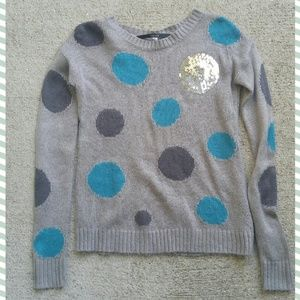 kensie polka dot sequin crewneck sweater